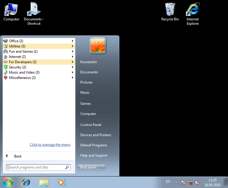 Click to view Handy Start Menu 1.30 screenshot
